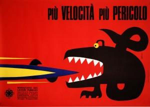 Pubblicità manifesto Sergio Ruffolo 1960 velocità
