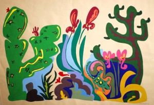 Cactus-tempera su carta marrone- 100 x70 cm-