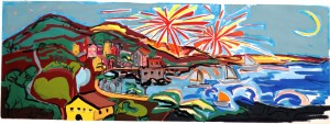 Rapallo- tempera ed acquarello su carta-78x30cm-