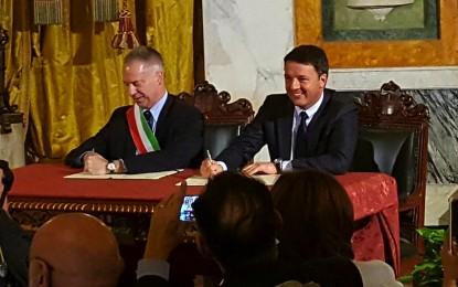 """Tutti i soldi del presidente. Siglato il """"Patto per Genova"""" da Renzi e Doria: 110 milioni per infrastrutture, trasporti e cultura"""