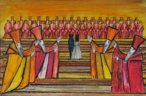 Il flauto magico. Dal film d'animazione, 1978, pastello e collage, cm 50 x 70